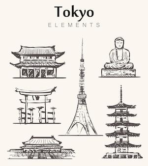 Satz von tokio-gebäuden isoliert auf weiß