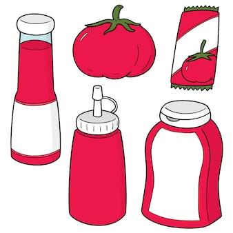Satz von tomaten und tomatenketchup