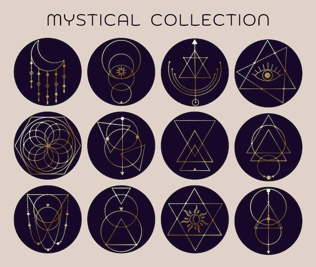 Satz von trendigen geometrischen liniensymbolen des vektors symbolsammlung