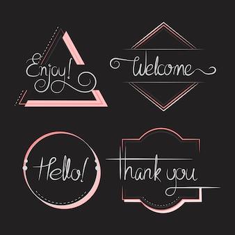 Satz von typografie abzeichen vektor