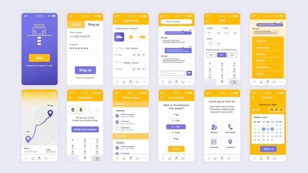 Satz von ui-, ux-, gui-bildschirmen flache vorlage für die delivery-app