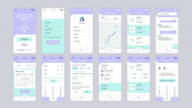 Satz von ui-, ux-, gui-bildschirmen flache vorlage für die delivery-app Premium Vektoren