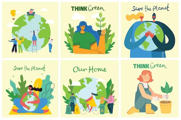 Satz von umweltfreundlichen umgebungsbildern. leute, die sich um planetencollage kümmern. keine verschwendung, denken sie grün, retten sie den planeten, unseren handgeschriebenen text im flachen design