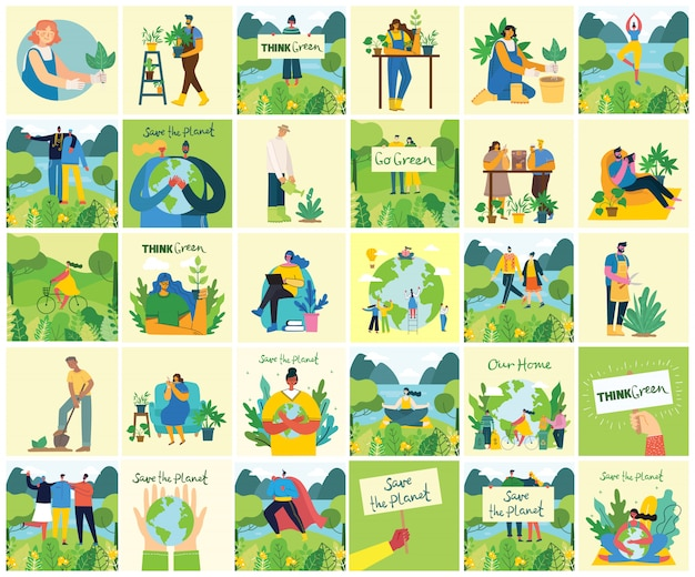 Satz von umweltfreundlichen umgebungsbildern. leute, die sich um planetencollage kümmern. keine verschwendung, denken sie grün, retten sie den planeten, unseren handgeschriebenen text im modernen flachen design