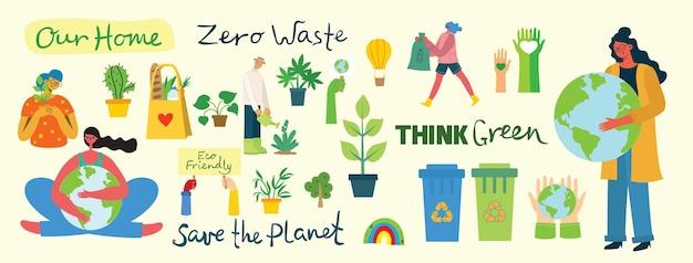 Satz von umweltfreundlichen umgebungsbildern. menschen, die sich um den planeten kümmern.