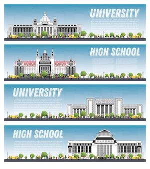 Satz von universitäts-campus-studienbannern. vektor-illustration. die studenten gehen zum hauptgebäude der universität. skyline mit blauem himmel und grünem baum. banner mit kopierraum.