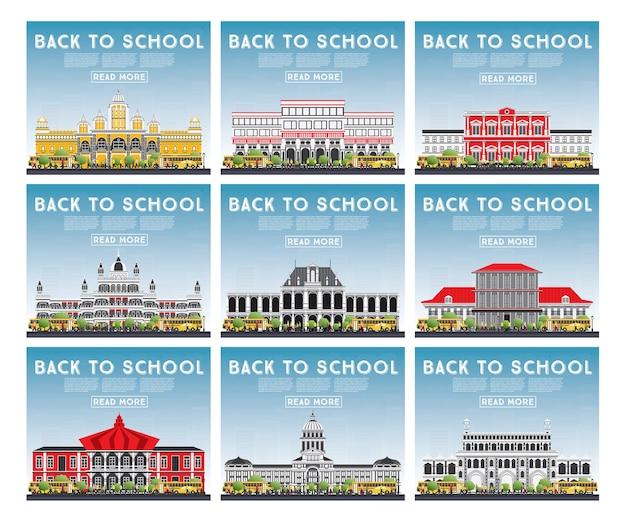 Satz von universitäts-, gymnasial- und hochschulstudienbannern. die studenten gehen zum hauptgebäude der universität. skyline mit blauem himmel und grünem baum. banner mit kopierraum.