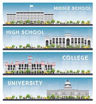 Satz von universitäts-, gymnasial- und hochschulstudienbannern. skyline eingestellt