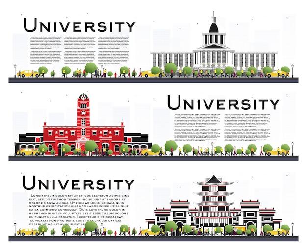 Satz von universitätscampus-studienfahnen, isolated on white. vektor-illustration. studenten gehen zum hauptgebäude der universität. skyline mit grünem baum. banner mit textfreiraum.