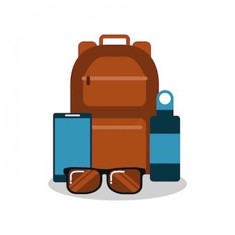Satz von urlaubsausrüstung rucksack sonnenbrillen mobile und wasserflasche