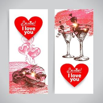 Satz von valentinstag-bannern. handgezeichnete illustrationen