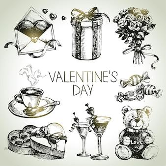Satz von valentinstag. handgezeichnete illustrationen