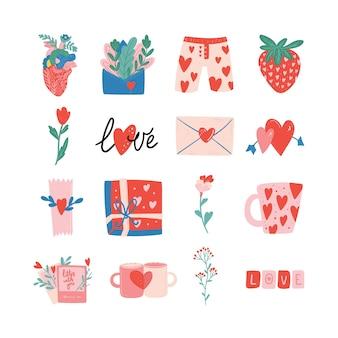 Satz von valentinstag-vektor-illustration trendige farbpalette und süße romantische elemente d
