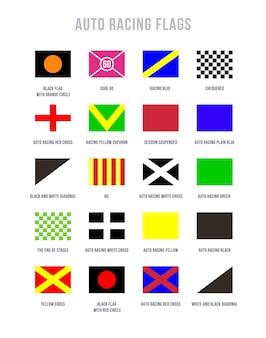 Satz von vektor-autorennflaggen