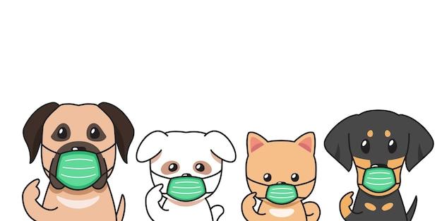 Satz von vektor-cartoon-charakterhunden, die schützende gesichtsmasken für das design tragen.