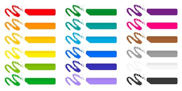 Satz von vektor-cartoon-illustrationen mit farbigen kreiden auf weißem hintergrund.