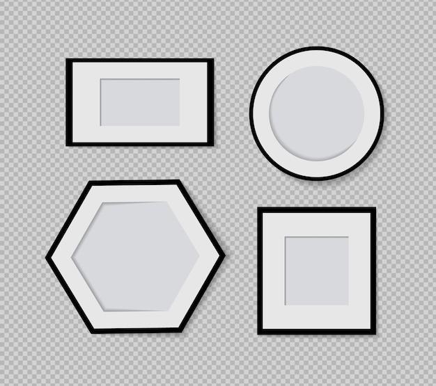 Satz von vektor-fotorahmen-mockup-design auf klebeband isoliert auf transparentem hintergrund