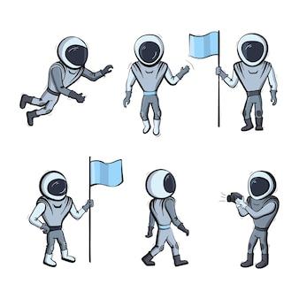 Satz von vektor-illustration des astronauten. planetenerkundung und erfolgsdoodle