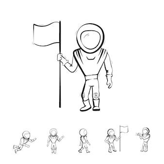 Satz von vektor-illustration des astronauten. planetenerkundung und erfolgsdoodle Premium Vektoren