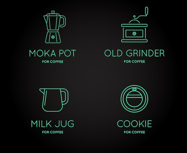 Satz von vektor-kaffeezubehör-icons mit buchstabenzeichen kann als logo verwendet werden