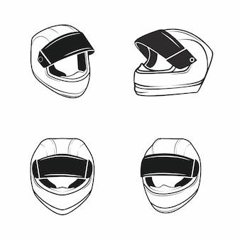 Satz von vektor-moto-helm-icons aus verschiedenen blickwinkeln auf einem weißen hintergrund. das konzept des motorradfahrens, der hohen geschwindigkeit, der sicherheit und des schutzes. satz von elementen für eine website oder app.