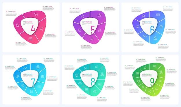 Satz von vektor-rundschreiben-infografik-vorlagen in form von abstrakten formen.