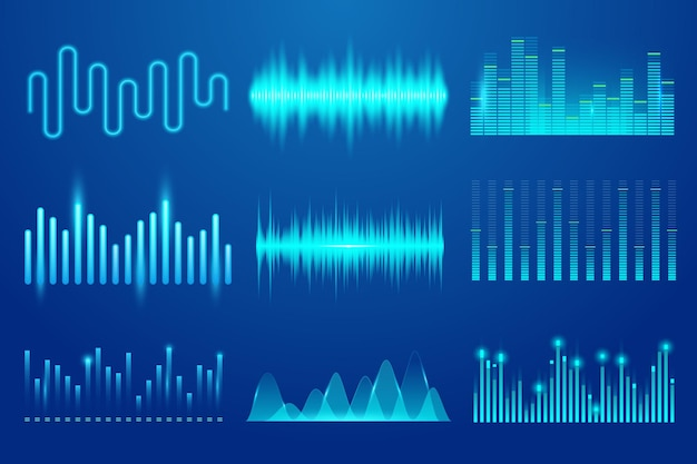 Satz von vektor-sound-musikwellen-vorlagen-audiotechnologie-musikpuls-sounddiagrammen