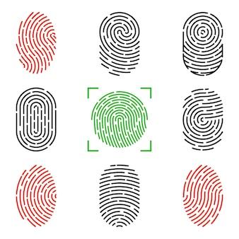 Satz von vektorillustrationen der sicherheits-fingerabdruck-authentifizierung. fingeridentität, biometrische illustration der technologie. sammlung von fingerabdruckvorlagen.