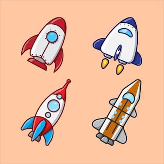 Satz von vektorillustrationen von rakete und raumschiff