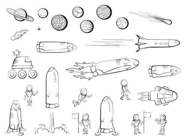 Satz von vektorillustrationen von raumschiff, rakete, rover. doodle-cartoon-vektor-icons.