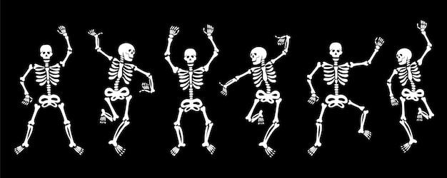 Satz von vektorillustrationen von weißen grafischen skeletten, die energisch tanzen und spaß haben, isoliert...