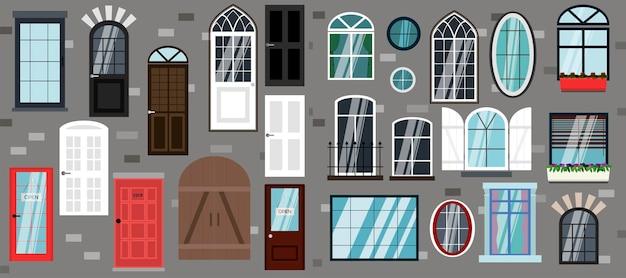 Satz von vektortüren und -fenstern flache illustration verschiedener arten von designs und türstilen