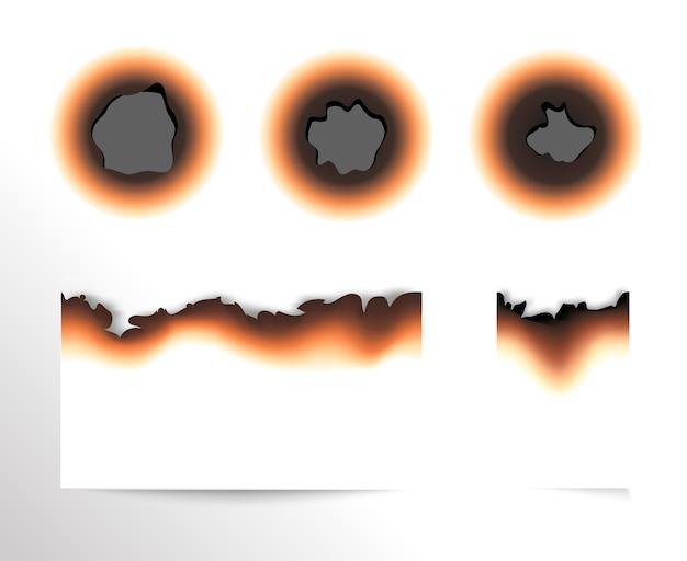 Satz von verbranntem stück papier und verbrannten löchern auf lokalisierter illustration des weißen hintergrunds.