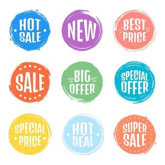 Satz von verkaufs-tag-tags. grunge-stempel, abzeichen und banner. premium-qualitätsgarantie, bestseller, beste wahl, verkauf, sonderangebot. banner und aufkleber.