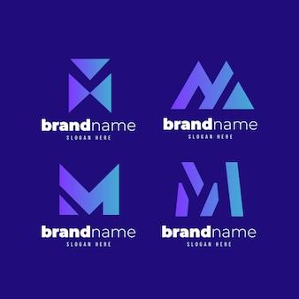 Satz von verlauf m logo-vorlagen