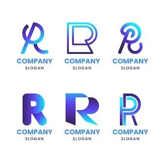 Satz von verlaufs-r-logo-vorlagen