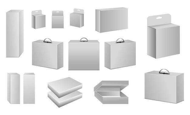 Satz von verpackungskartonvorlagen oder verpackungsvorlagenkonzept für kartonprodukte
