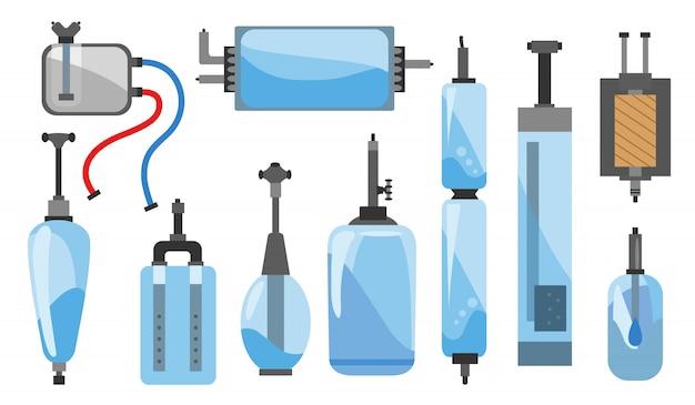 Satz von verschiedenen arten von wasserfiltern und systemabbildungen. flache symbole des wasserfilters. farbe und skizzenstil. wasserfilter zu hause komponente für sauberes wasser geschäft und logos