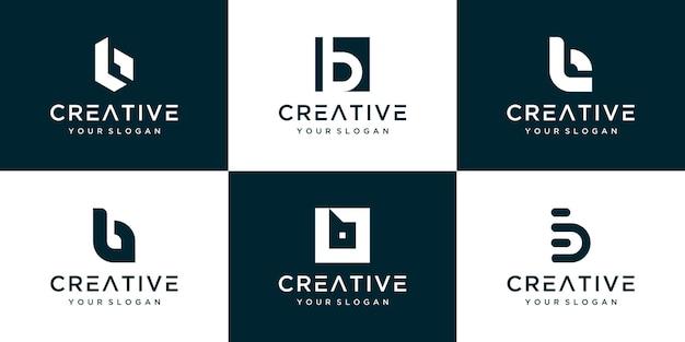 Satz von verschiedenen b-logo-schablonendesign