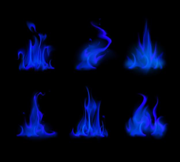 Satz von verschiedenen blauen feuerflammen-lagerfeuer isoliert