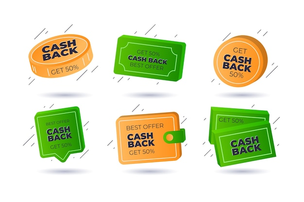 Satz von verschiedenen cashback-etiketten