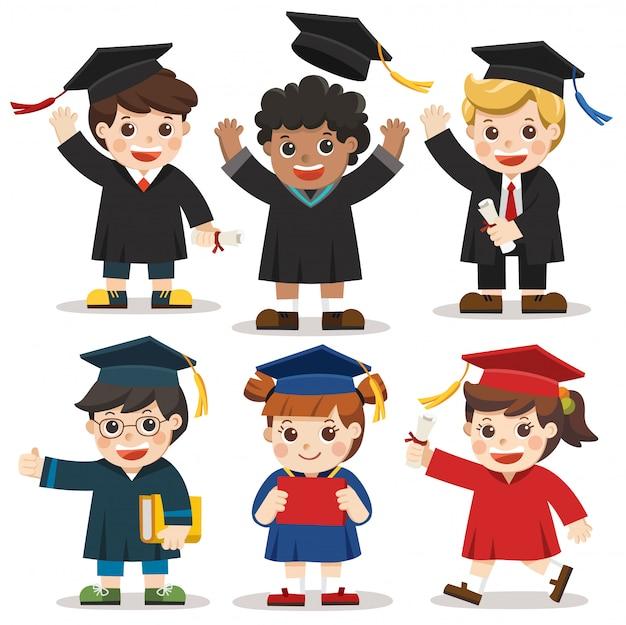 Satz von verschiedenen college- oder universitätsabschlussstudenten. unterschiedliche nationalitäten und kleidungsstile. glückwunsch kinder.