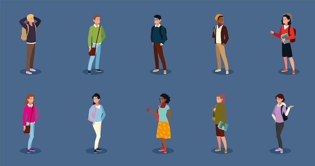 Satz von verschiedenen college- oder universitätsstudenten, die bücher und taschen halten