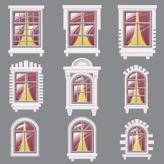 Satz von verschiedenen fenstern, element für architektur