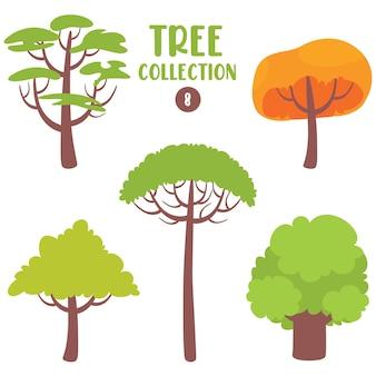 Satz von verschiedenen flachen bäumen