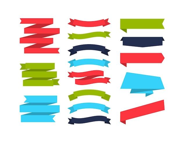 Satz von verschiedenen formbandfahnen bunte fahnensammlung flaches design kennzeichnet etiketten und bänder