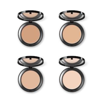 Satz von verschiedenen gesichtskosmetik-make-up-puder