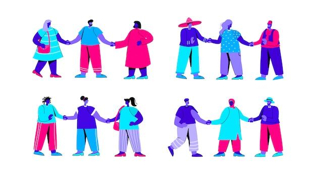 Satz von verschiedenen gruppen von männern und frauen, die zusammen flachblauen personencharakter stehen