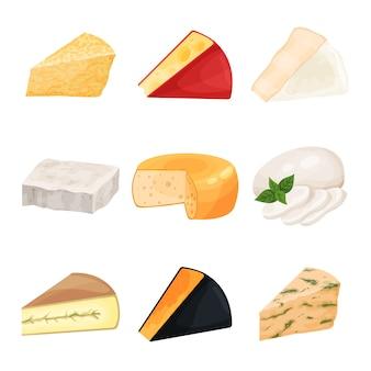 Satz von verschiedenen käse-, milchproduktkarikaturillustrationen