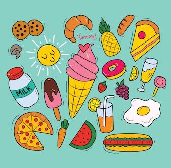 Satz von verschiedenen Lebensmitteln in Doodle-Stil